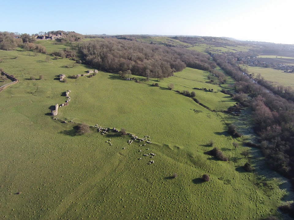 Aerial photo of Lympne and Stutfall Castles ©Paul R. Davis